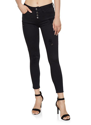 VIP 4 Button Skinny Jeans,BLACK,large