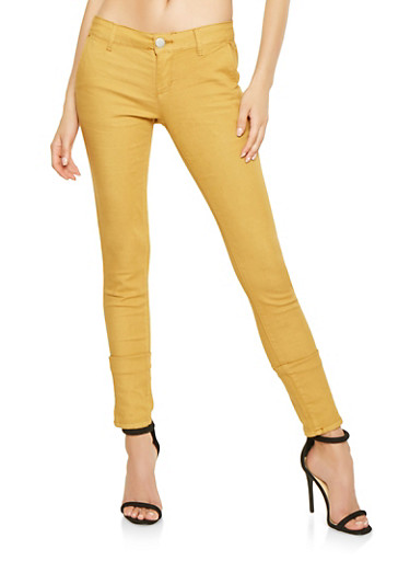 Solid Twill Pants,MUSTARD,large
