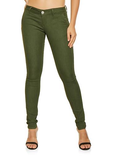 Solid Skinny Pants,OLIVE,large