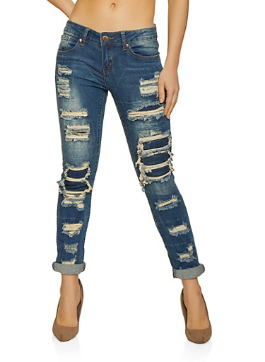 VIP Rip and Repair Skinny Jeans,LIGHT WASH,large