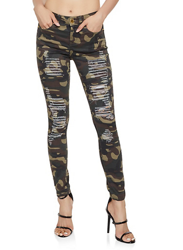 VIP Frayed Camo Skinny Jeans,BROWN,large