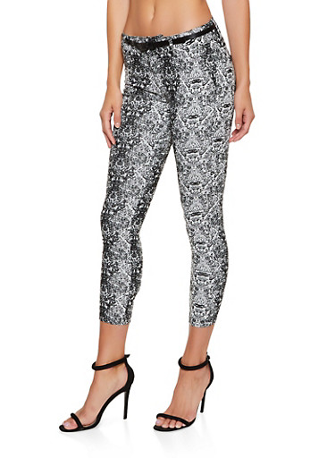 Snake Print Skinny Dress Pants,GRAY,large