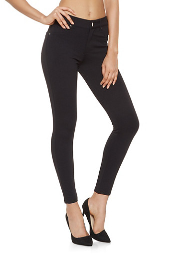 Stretch Ponte Pants,BLACK,large