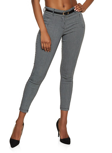 Printed Belted Dress Pants,BLACK,large
