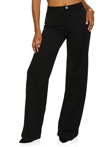 High Waisted Textured Knit Pants,BLACK,large