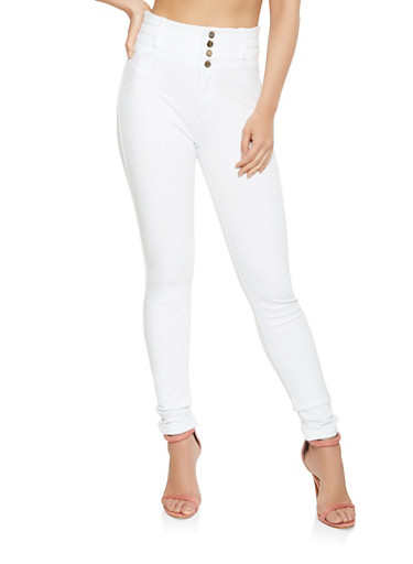 High Waisted Ponte Knit Pants,WHITE,large