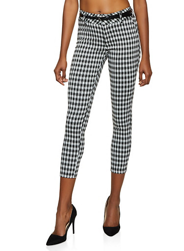Checkered Textured Knit Skinny Pants,BLACK/WHITE,large