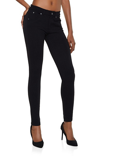 Push Up Skinny Ponte Pants,BLACK,large