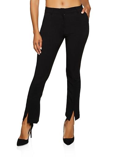 Flared Front Slit Pants,BLACK,large