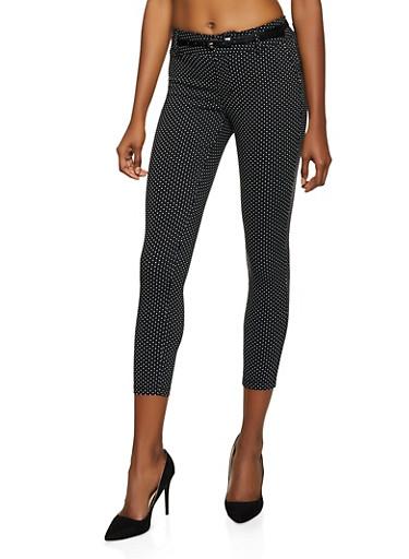 Belted Polka Dot Dress Pants,BLACK,large