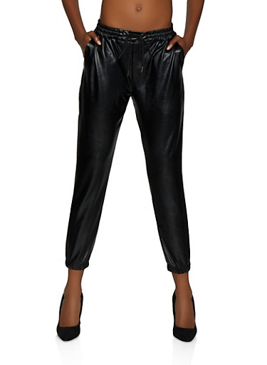 Faux Leather Drawstring Waist Joggers,BLACK,large