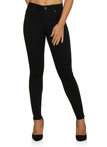 Ponte Knit Jeggings,BLACK,large