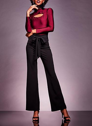 Crepe Knit Tie Waist Flared Pants,BLACK,large