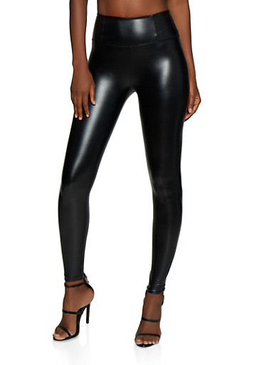 Faux Leather Leggings,BLACK,large