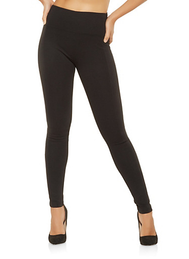 Ponte Knit Pull On Pants,BLACK,large