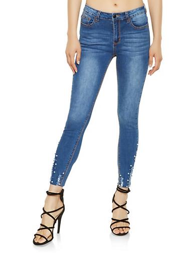 Faux Pearl Embellished Hem Jeans,MEDIUM WASH,large