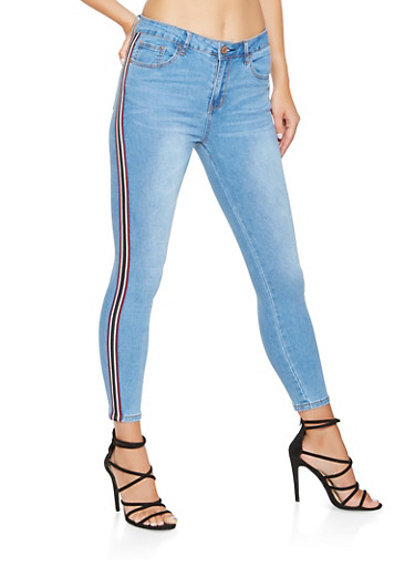 Side Tape Skinny Jeans,MEDIUM WASH,large