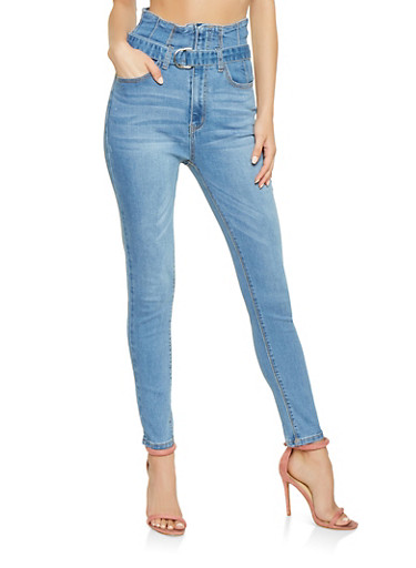 Belted High Waisted Skinny Jeans,MEDIUM WASH,large