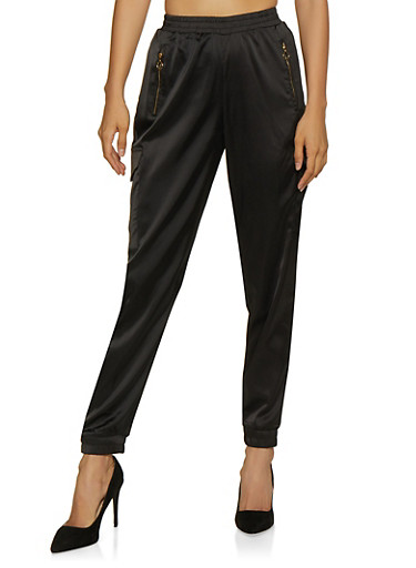 Zip Pocket Satin Cargo Joggers,BLACK,large