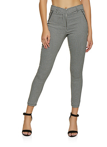 Checkered Dress Pants | 3074069397085,BLACK/WHITE,large