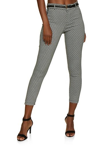 Printed Belted Skinny Dress Pants,BLACK/WHITE,large