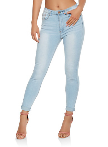 Roll Cuff Push Up Skinny Jeans,LIGHT WASH,large