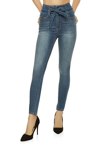 Highway Belted Whisker Wash Jeans,MEDIUM WASH,large