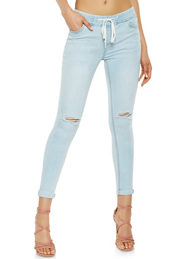 Highway Drawstring Waist Jeans,LIGHT WASH,large