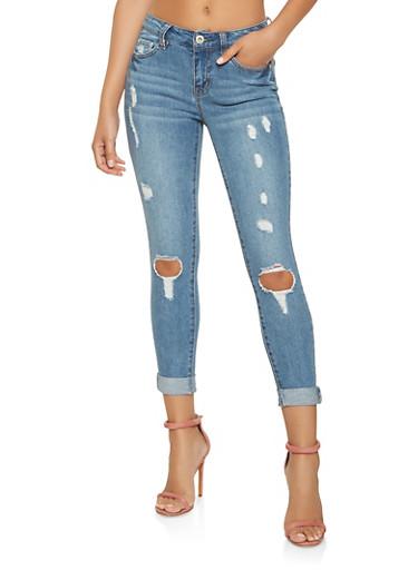 Highway Distressed Skinny Jeans,MEDIUM WASH,large