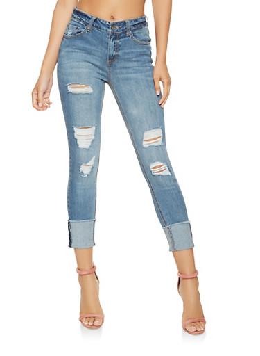 Highway Distressed Skinny Jeans,DARK WASH,large