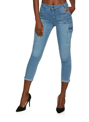 Highway Cargo Skinny Jeans,MEDIUM WASH,large