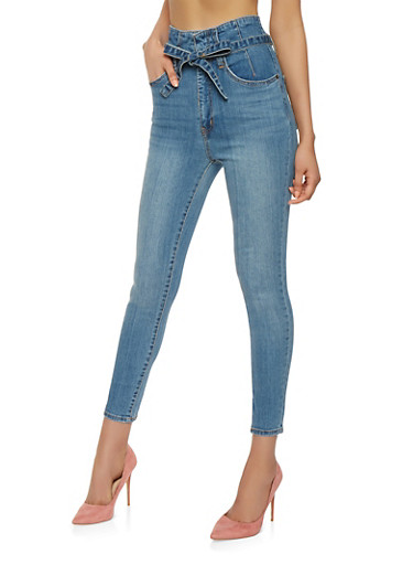 Highway Belted High Waisted Jeans,MEDIUM WASH,large