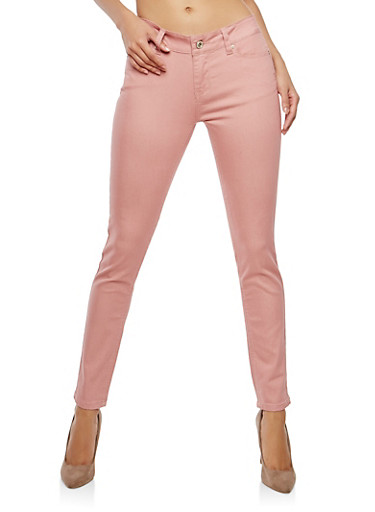 WAX Colored Push Up Skinny Pants,PINK,large