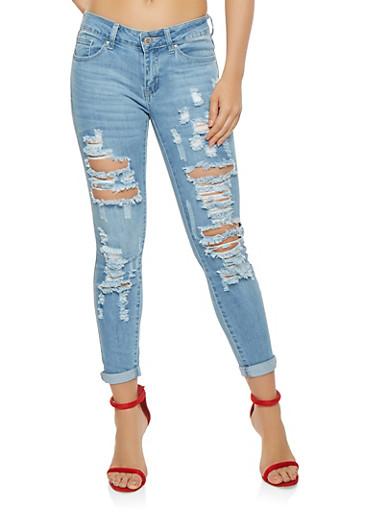WAX Destroyed Skinny Jeans,LIGHT WASH,large