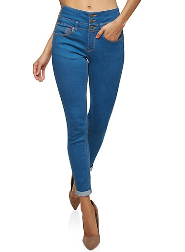 WAX 3 Button Cuffed Skinny Jeans,MEDIUM WASH,large