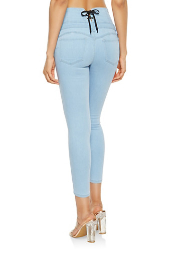WAX Lace Up Push Up Jeans - 3074071610122