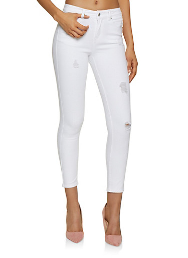 WAX Distressed Skinny Jeans | 3074071610150,WHITE,large