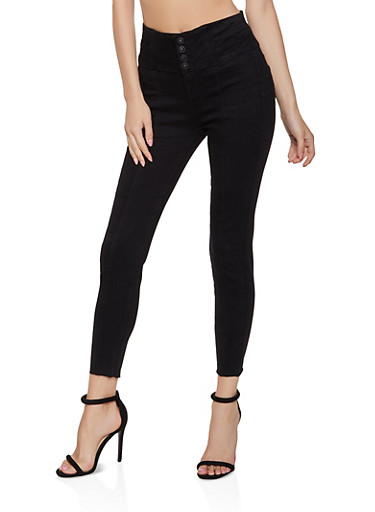 WAX 4 Button High Waisted Push Up Jeans,BLACK,large
