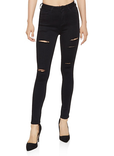 WAX Distressed High Waisted Skinny Jeans | 3074071610172,BLACK,large