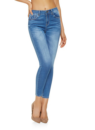 WAX High Waisted Push Up Jeans,MEDIUM WASH,large