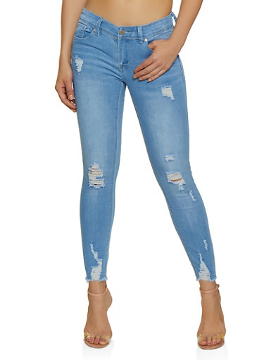 WAX Raw Hem Frayed Skinny Jeans,LIGHT WASH,large