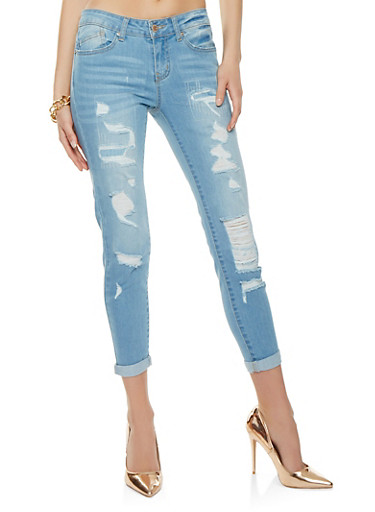 WAX Patch and Repair Jeans,LIGHT WASH,large