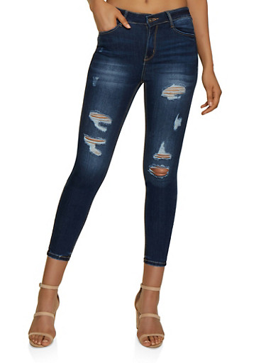WAX Push Up Ripped Jeans,DARK WASH,large