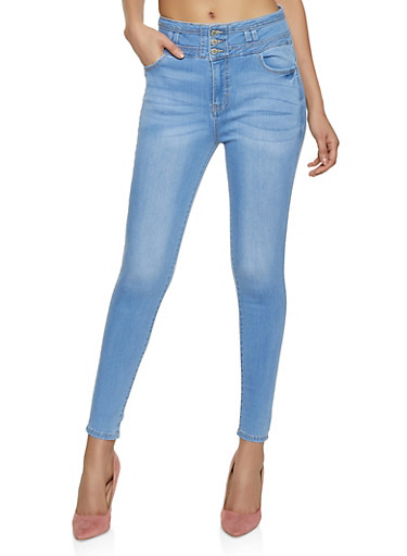 WAX 3 Button Loop Insert Jeans,LIGHT WASH,large