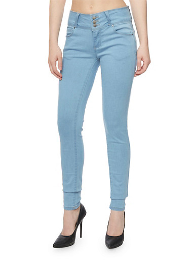 Wax Three Button Push Up Skinny Jeans,LIGHT WASH,large