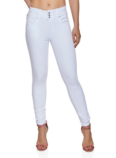 WAX 3 Button Jeans,WHITE,large