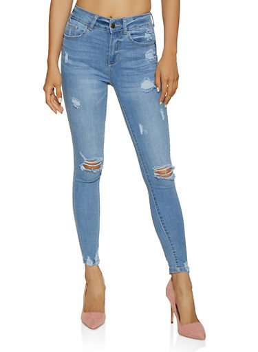 WAX Frayed Push Up Jeans,LIGHT WASH,large