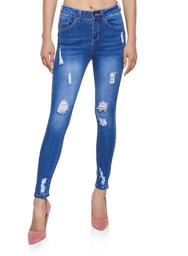 WAX Distressed Push Up Jeans | 3074071614447,MEDIUM WASH,large