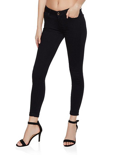 Cuffed Skinny Pants,BLACK,large