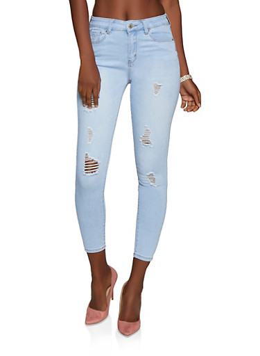 WAX High Waisted Skinny Jeans,LIGHT WASH,large